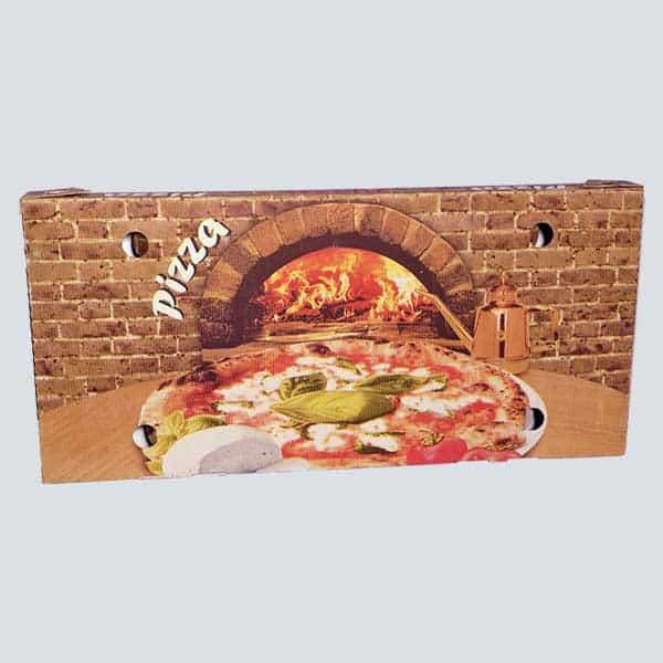 Scatolificio Martinelli Srl - copertina della Scatola Pizza 35x75x5 Occhiellata con stampa generica e personalizzata