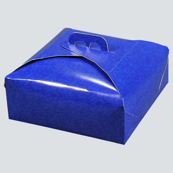 Scatolificio Martinelli Srl – Produzione di Porta Torta fondo Damascato Blu per pasticcerie