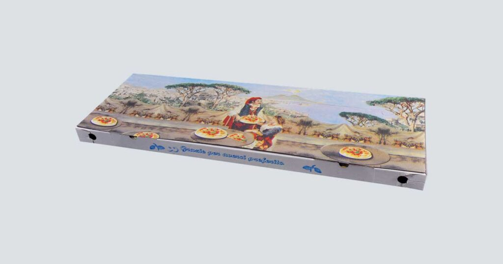 Scatolificio Martinelli Srl - Scatola pizza 35x100x5 Occhiellata con stampa generica e personalizzata