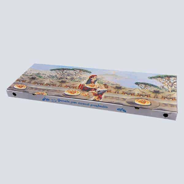 Scatolificio Martinelli Srl – Scatola pizza 35x100x5 Occhiellata con stampa generica e personalizzata